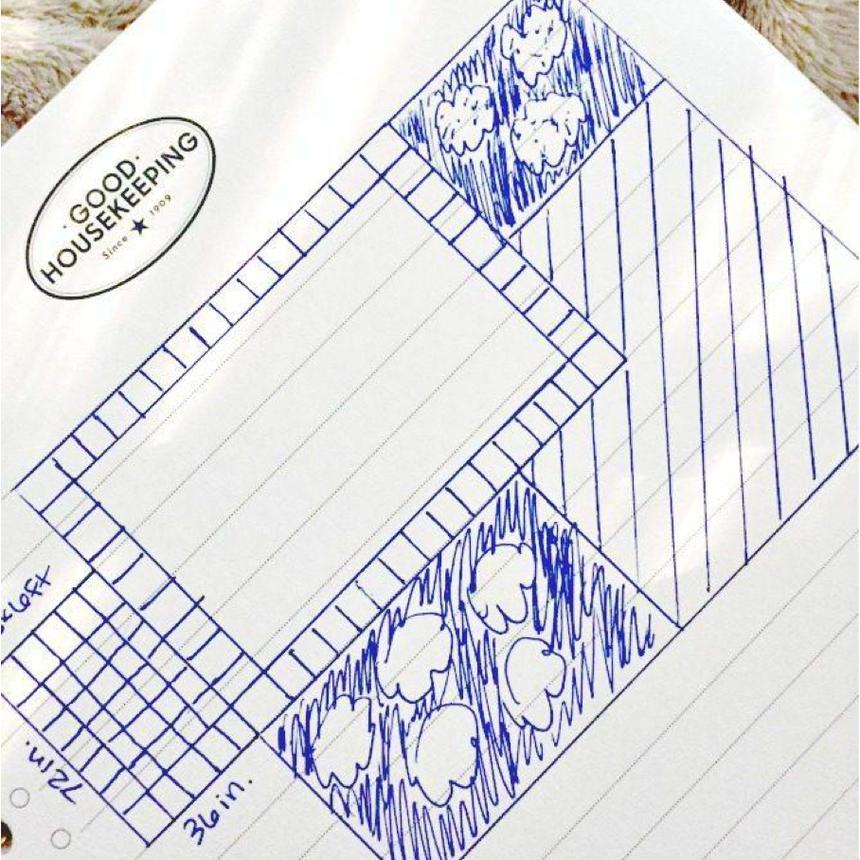 A sketch of a landscaping plan on white notebook paper