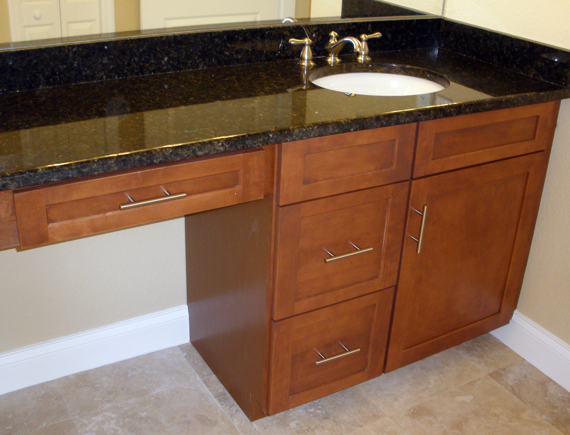 Bathroom vanity with off-center sink