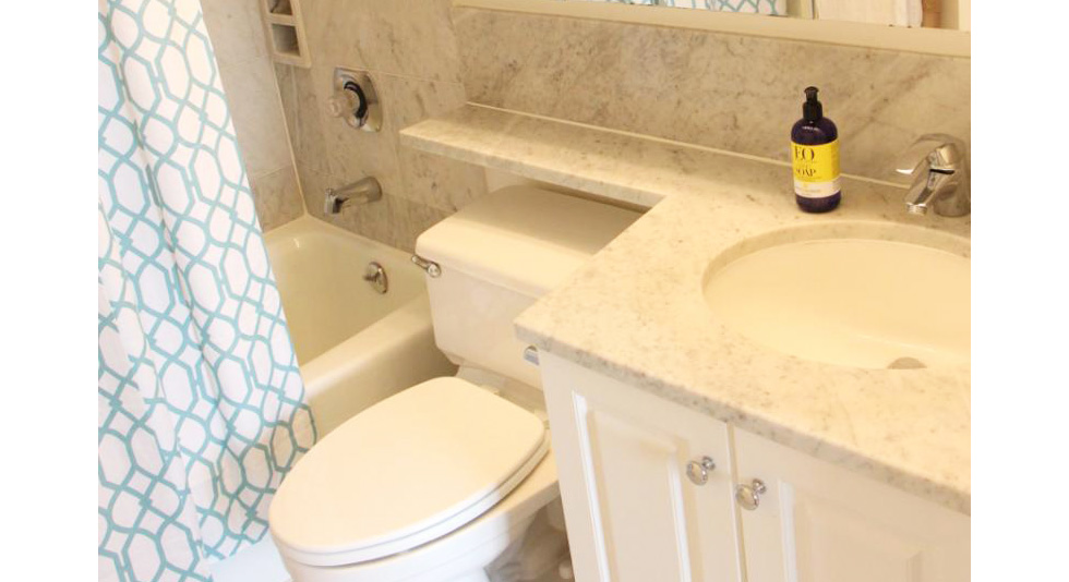 Stock bath vanity with custom countertop