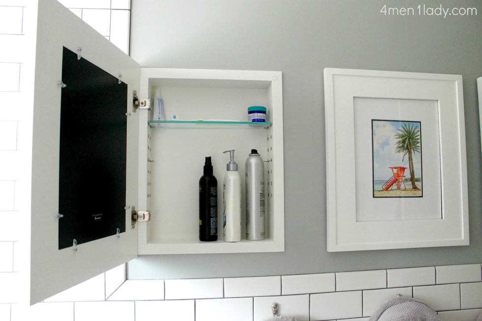 Cabinet Behind a Picture | Surface Mount Medicine Cabinet
