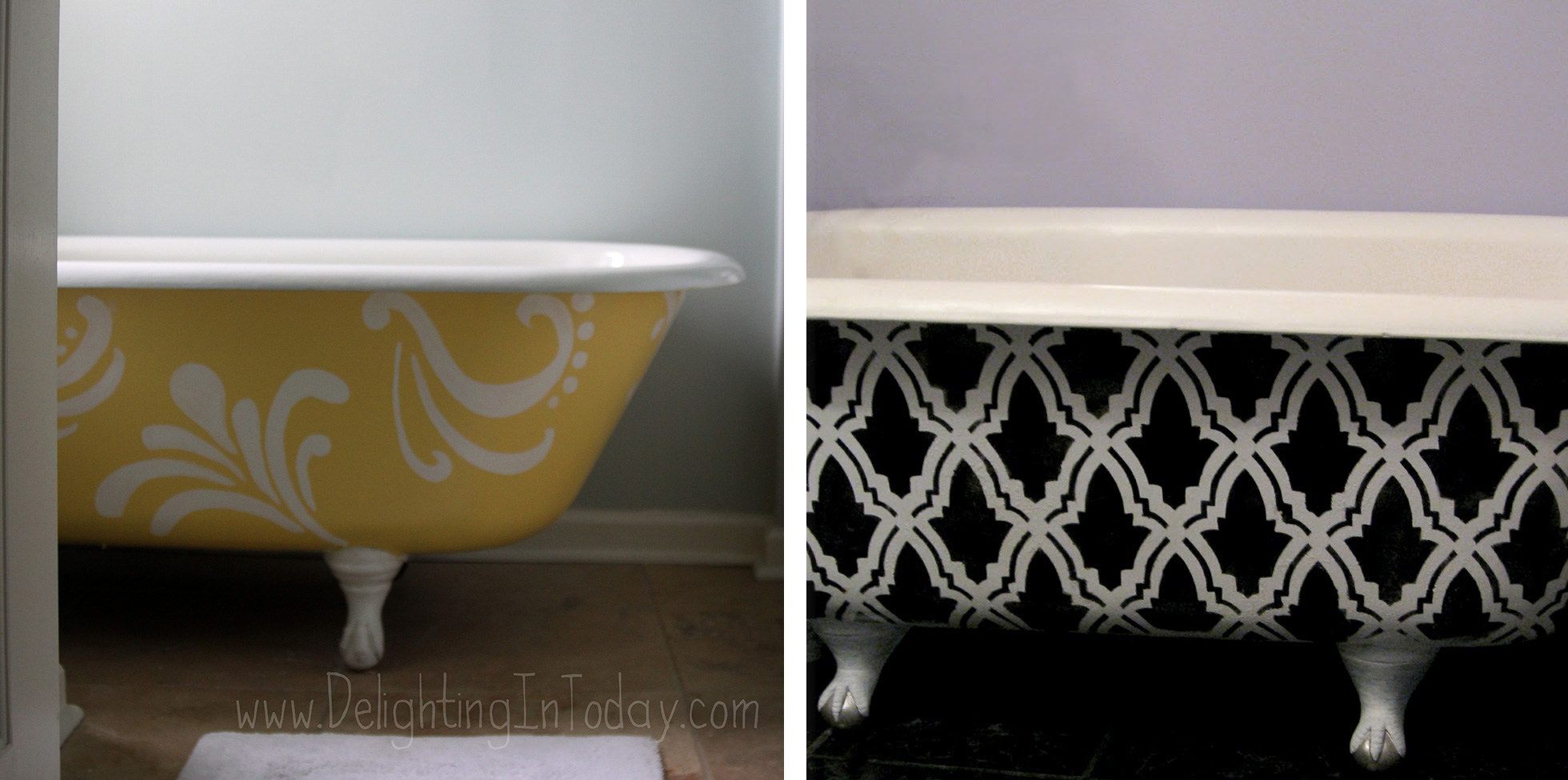 Two bathtubs that were repainted with hip designs