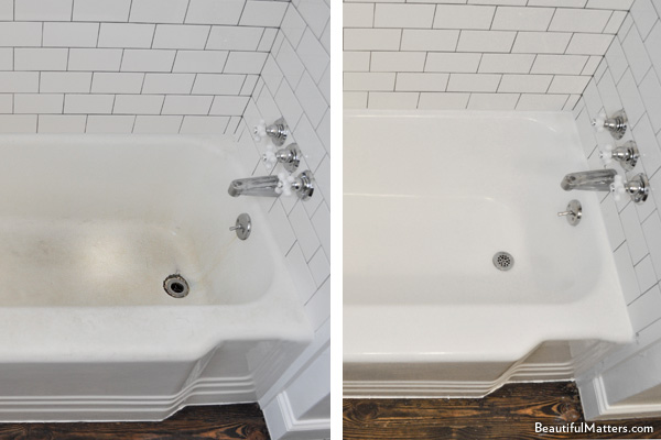 Before and after a tub was reglazed by homeowners
