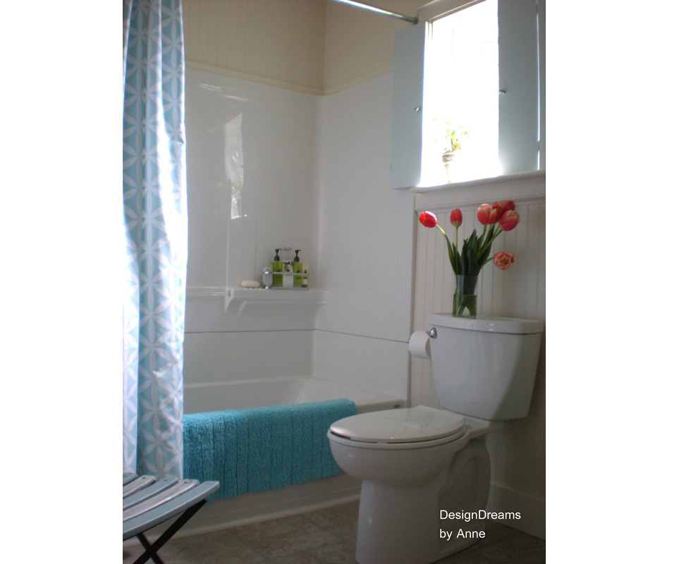 A bathtub liner in a home bathroom