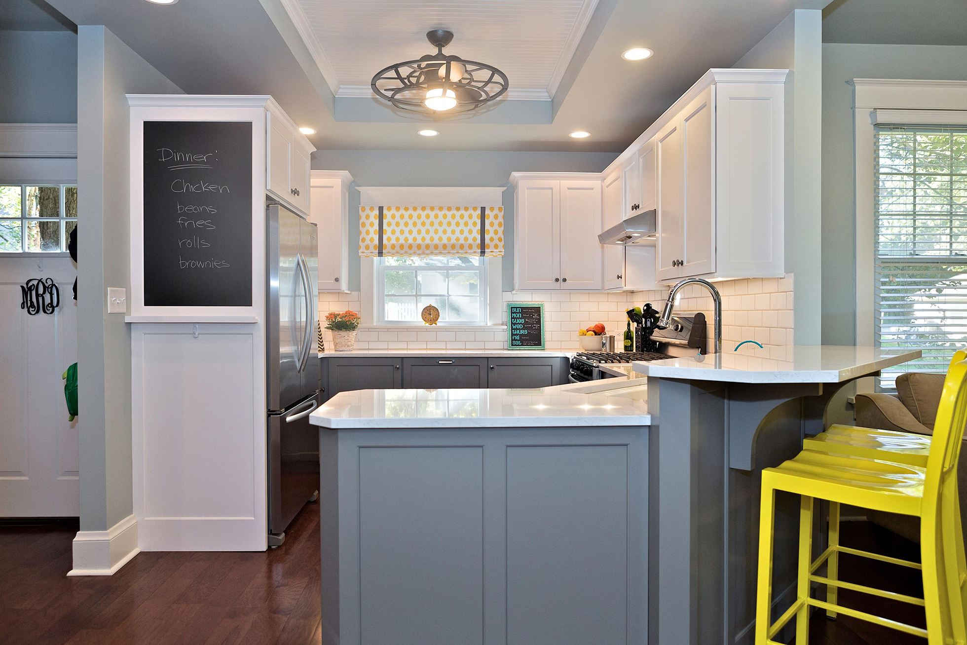 Grey Kitchen With Yellow Bar Stools