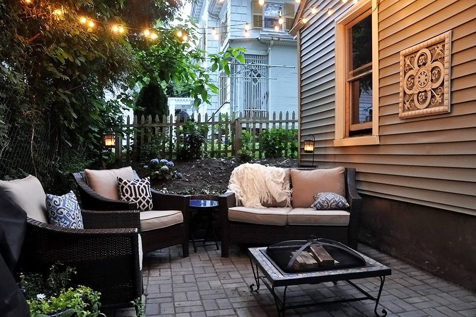 Back yard patio in the dusk