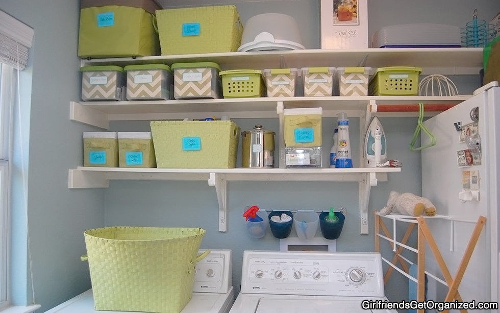 Revealing the laundry room pegboard shelf