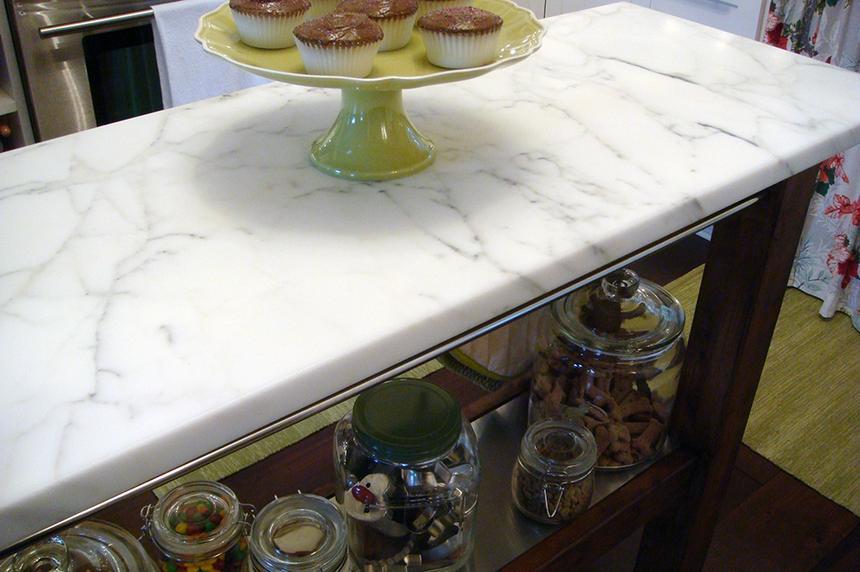 Calcatta marble countertop in kitchen