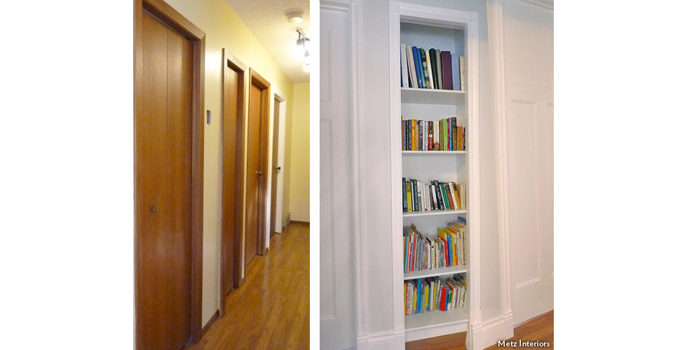 From hall closet to built-in bookcase