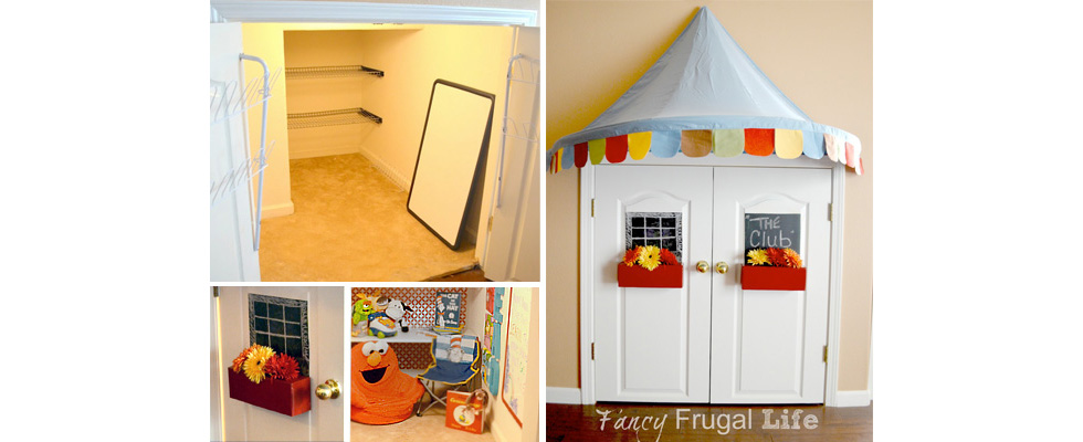 Low storage closet turned kids hideout nook