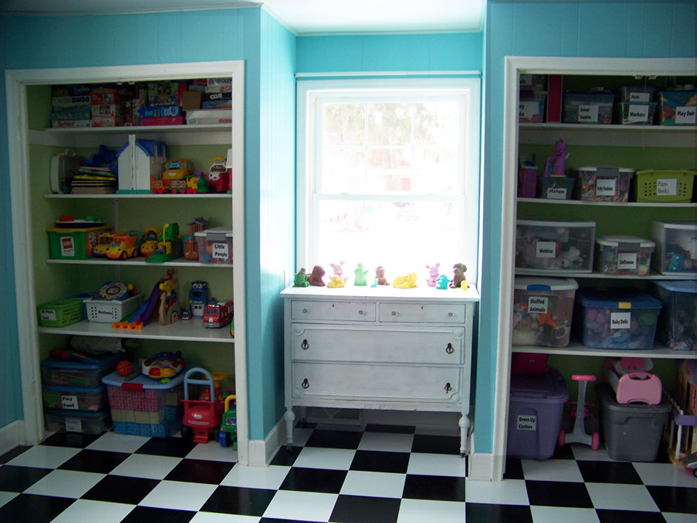 Shared kids room with separate bins for toys
