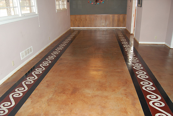 floor with engraved design painted concrete floors - Floor Design Ideas