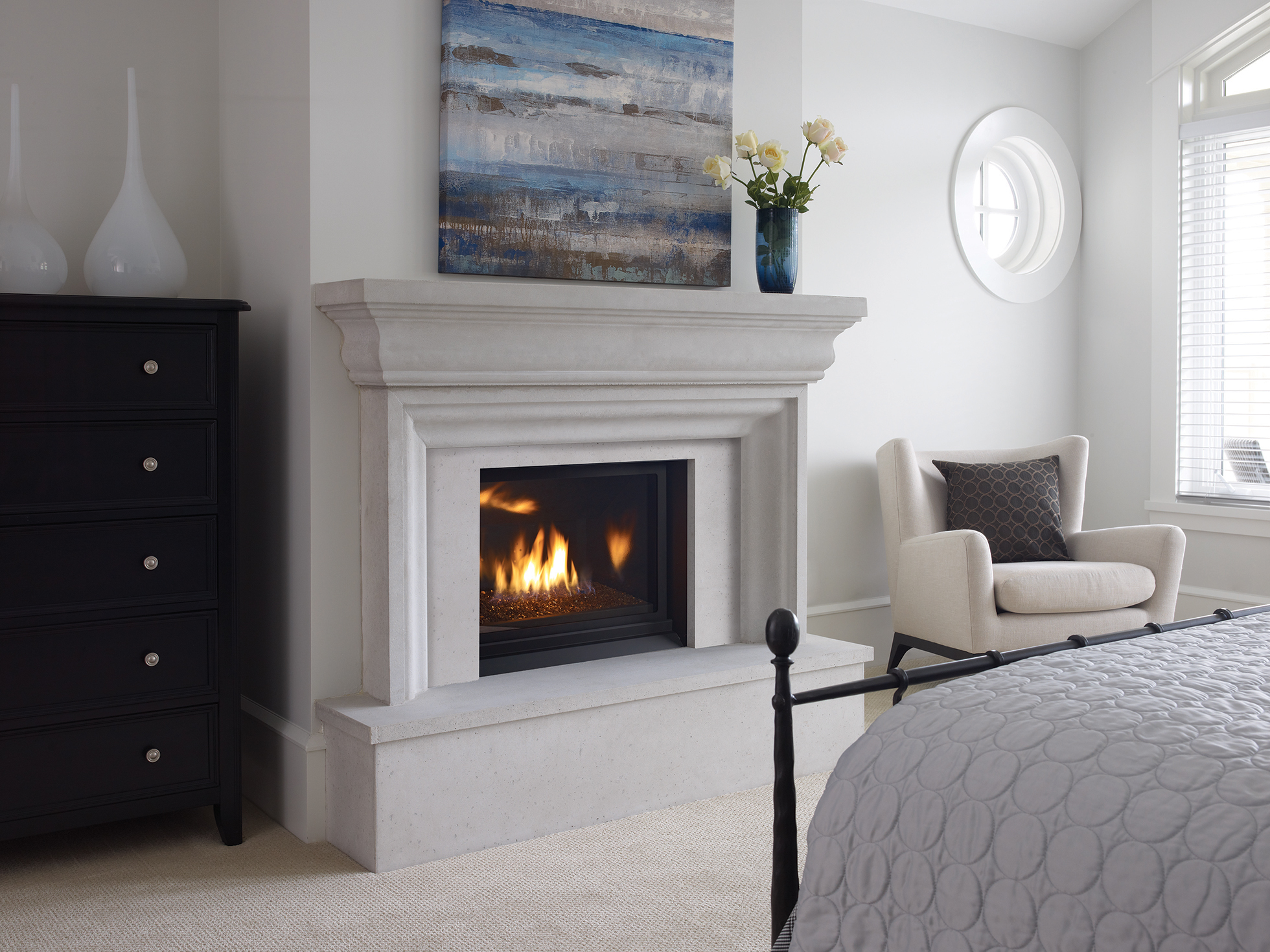 A fireplace that has been converted to gas heat