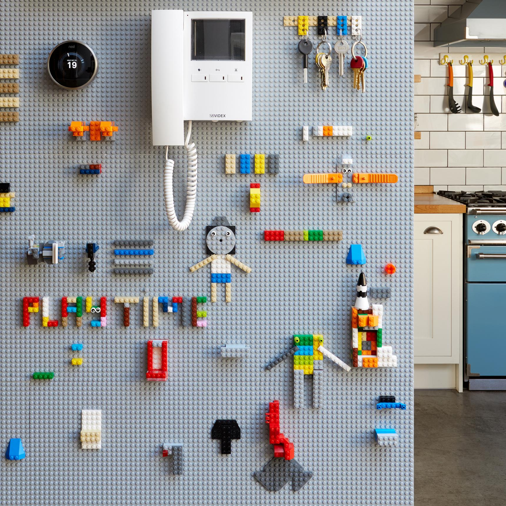 Fun home wall with Lego baseplates