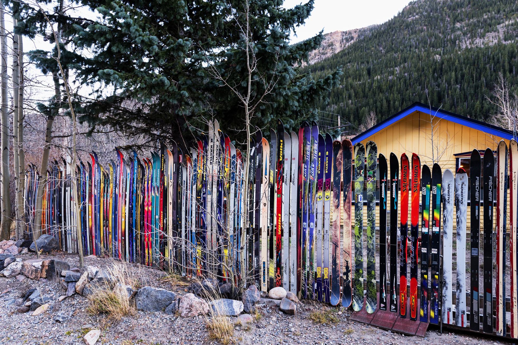 Ski fence outdoors