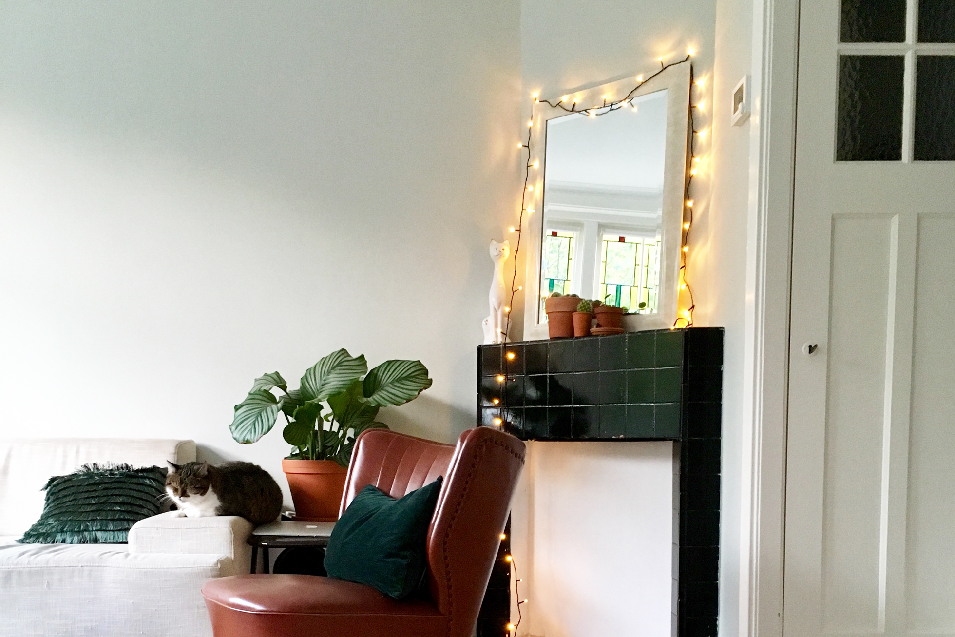 Living room with cat on a couch and string lights on mantel