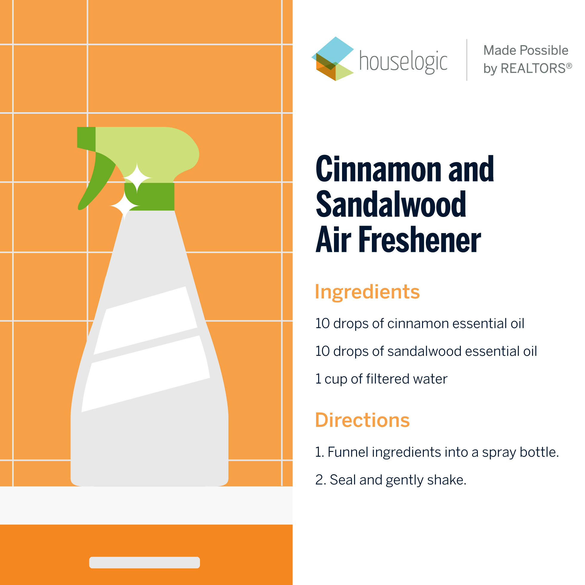 Recipe for homemade cinnamon and sandalwood air freshener