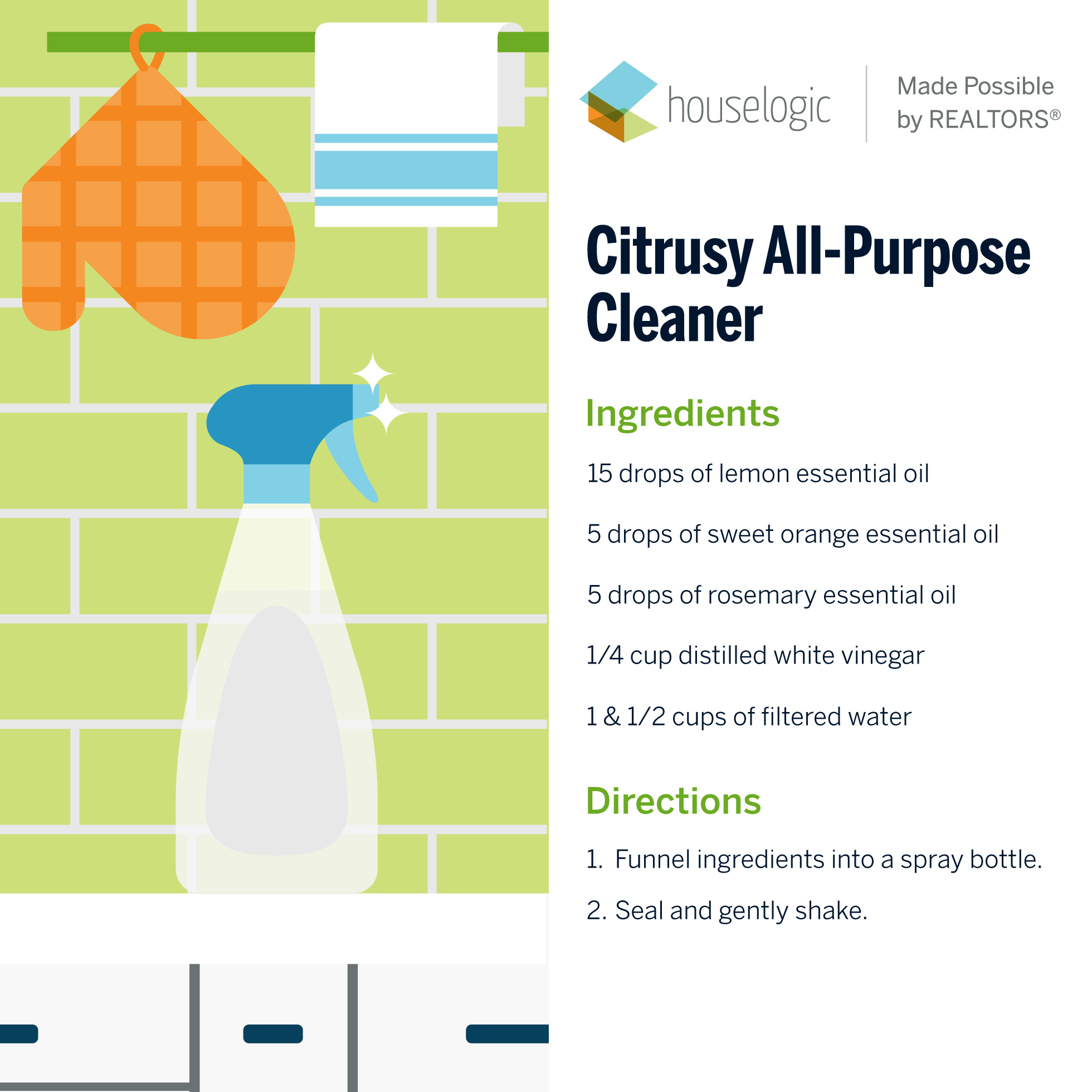 Recipe for homemade citrusy all-purpose cleaner