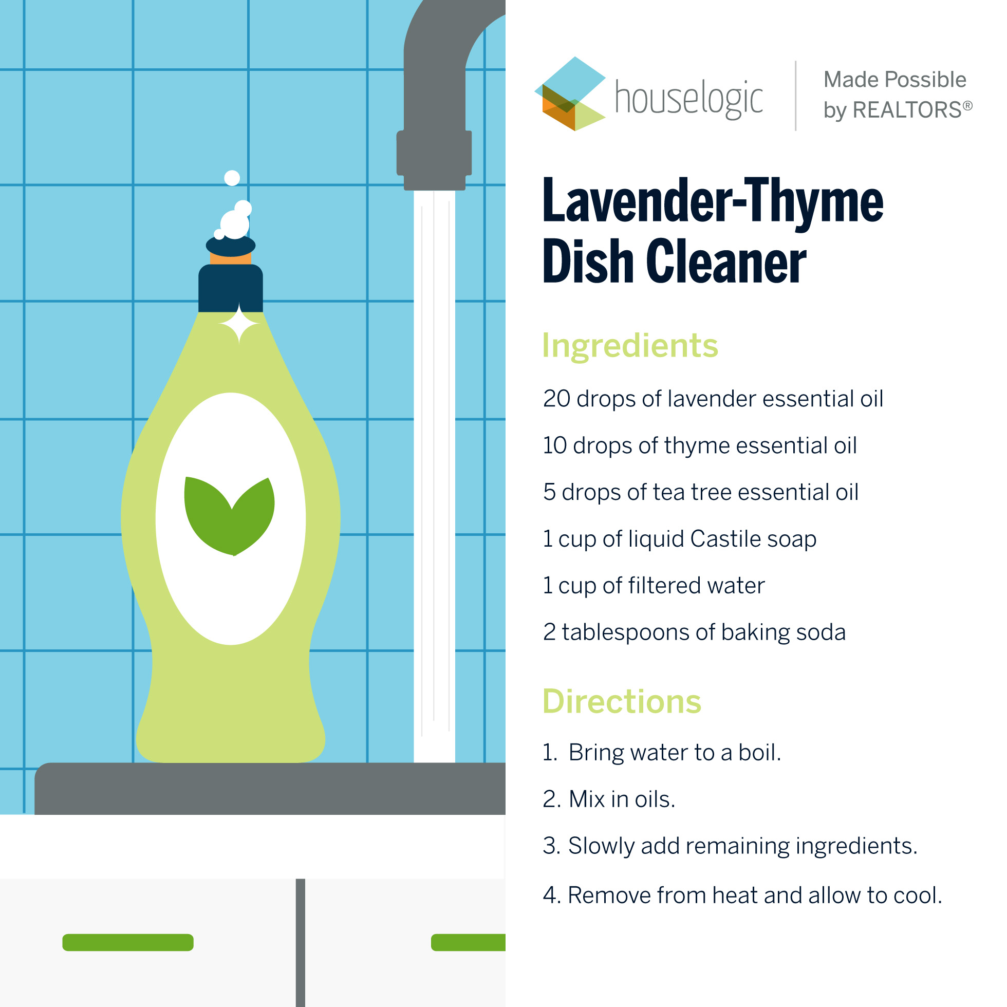 Recipe for homemade lavender-thyme dish cleaner