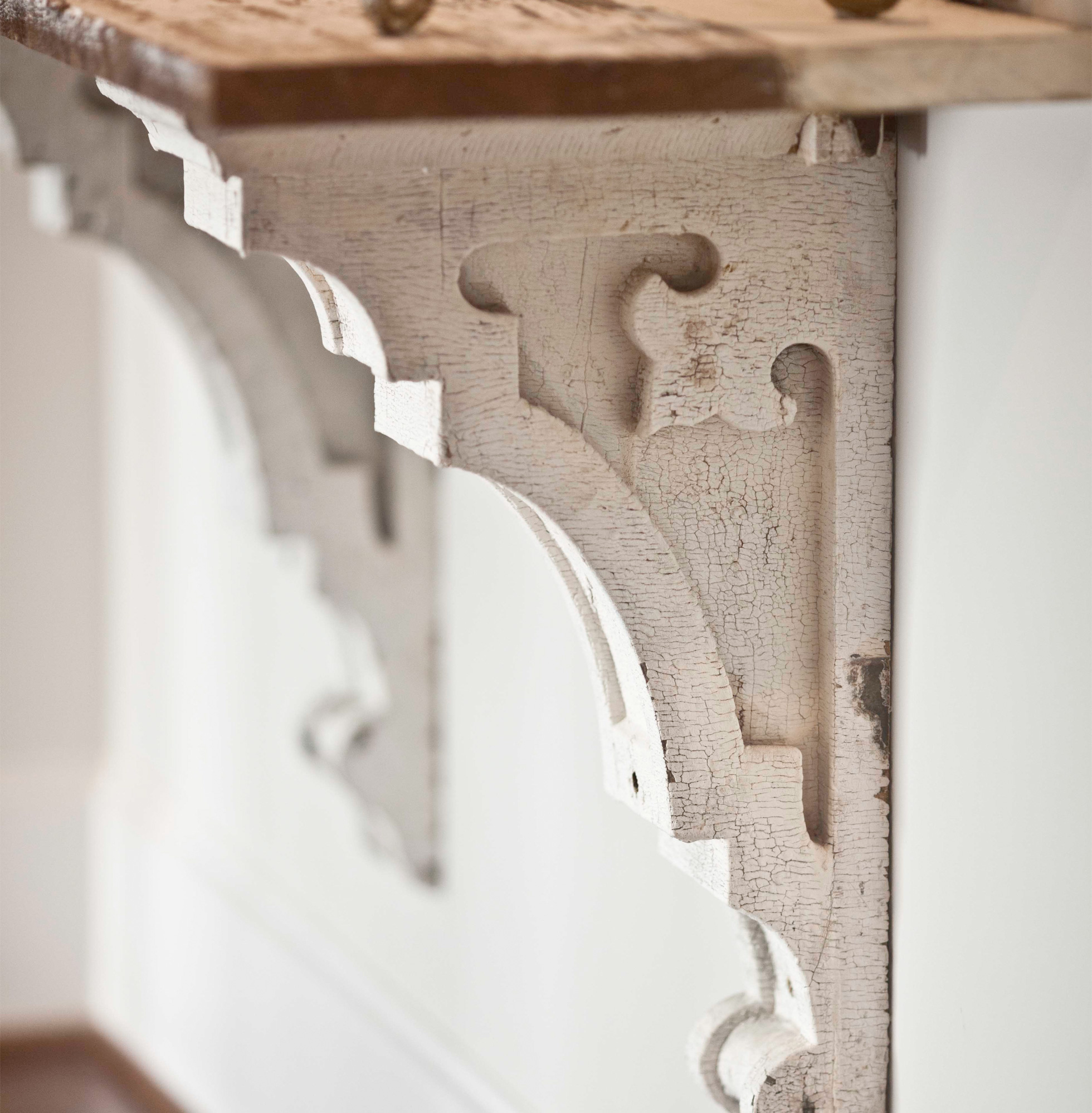 Vintage wood corbels in a home