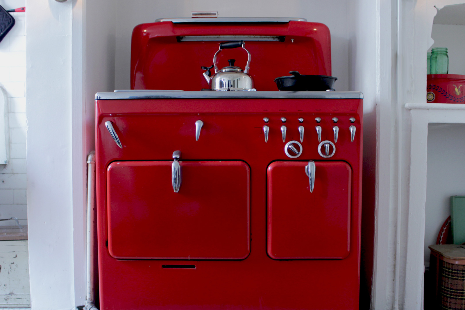 Best floors for a kitchen - Red Vintage Stove In A Home Kitchen