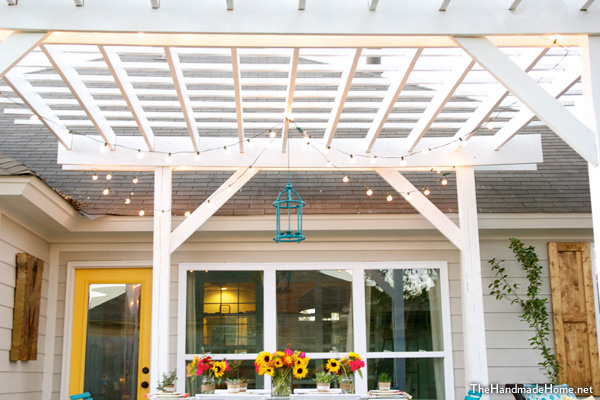 Wood rafters paintred white for pergola