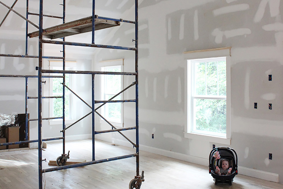 Living room with scaffolding