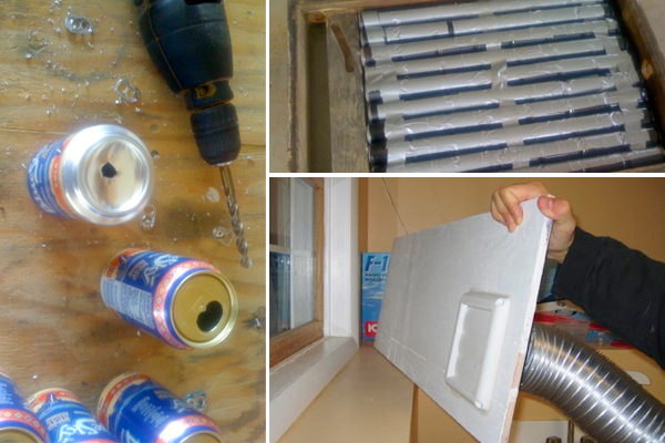 A diy solar heater for garages and sheds for Make your own solar panels with soda cans
