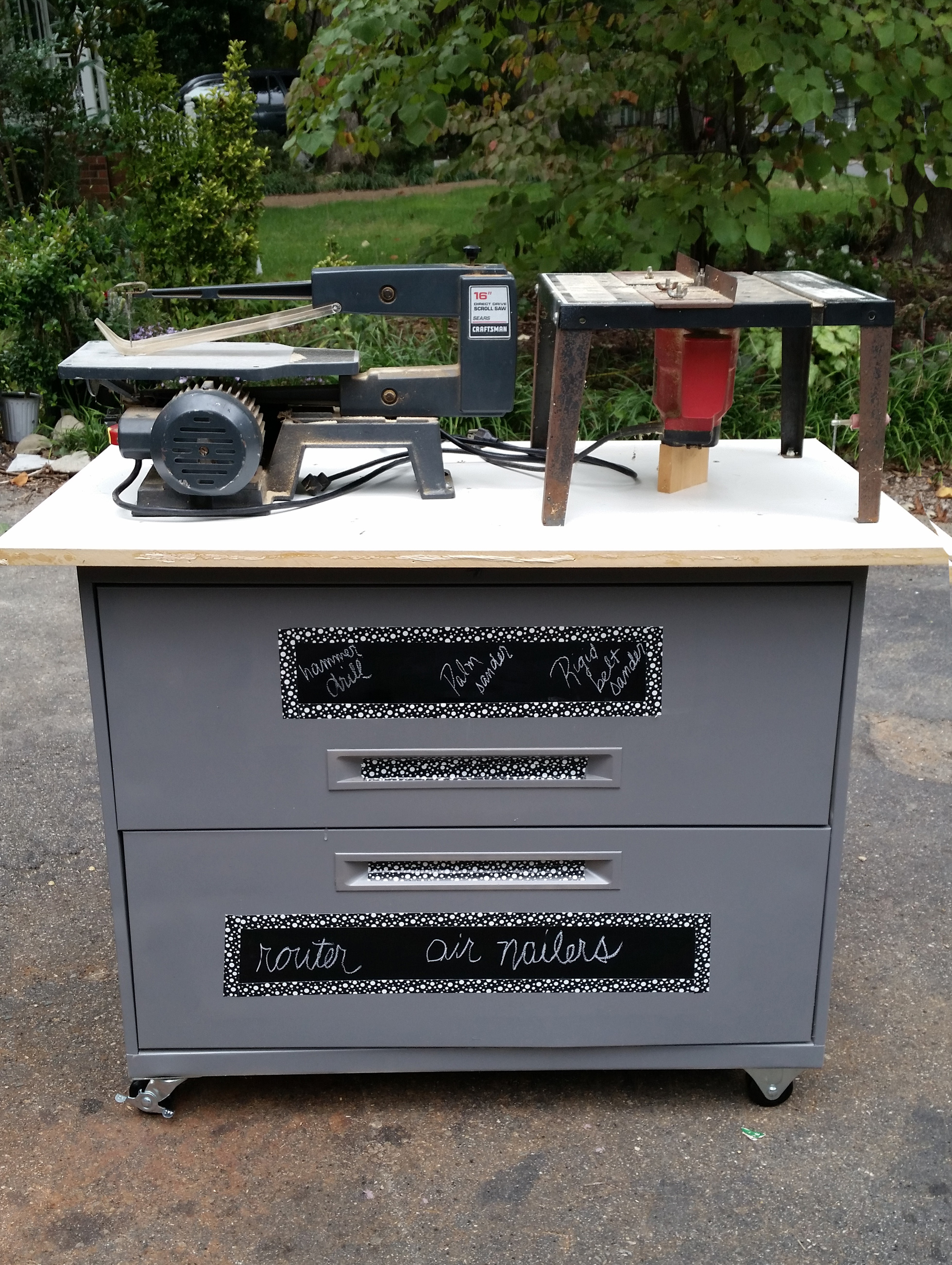 Garage workbench made from a filing cabinet