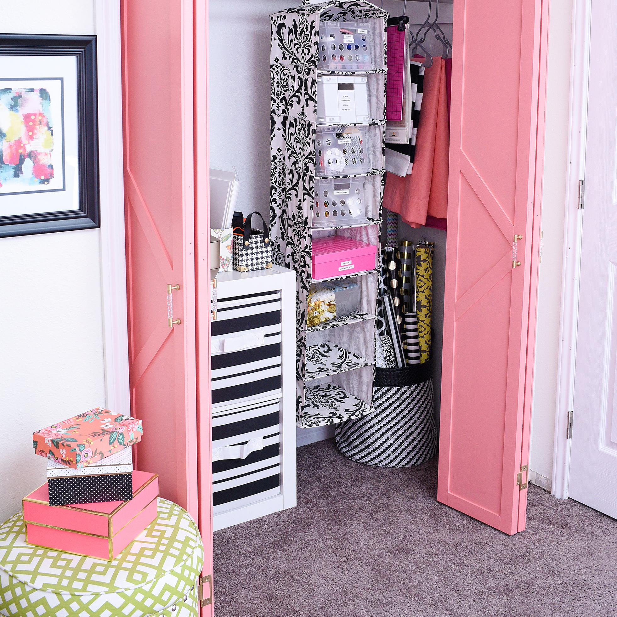 Pink bi-fold closet doors