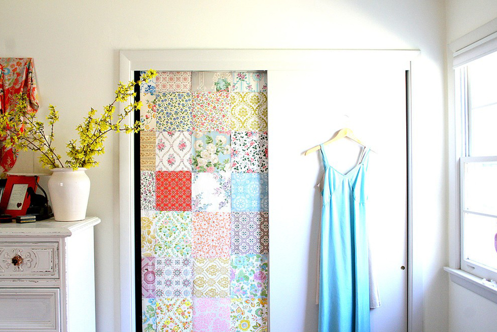 A wallpaper sliding closet door