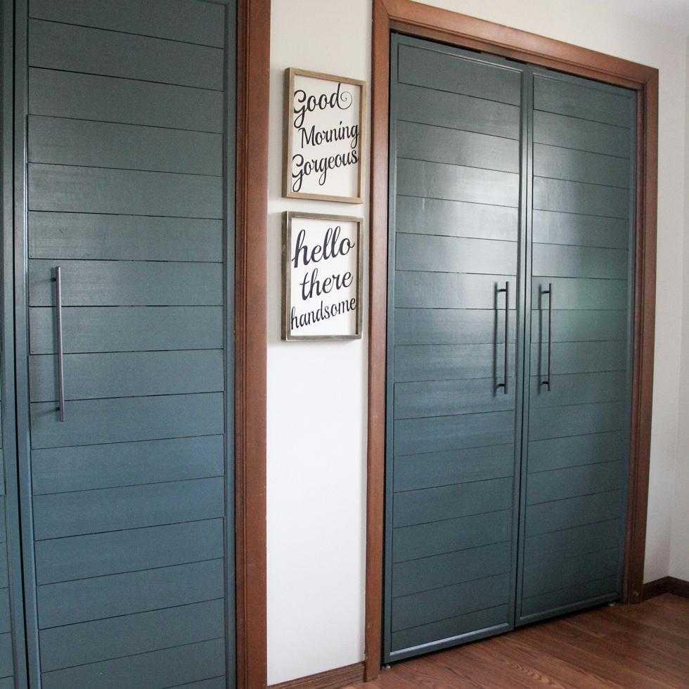 Faux shiplap closet doors
