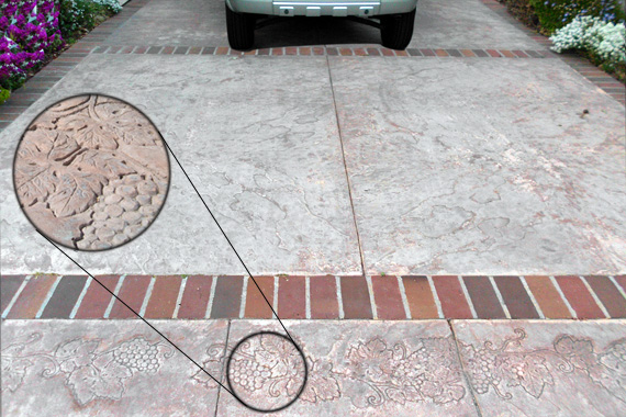Concrete Driveway Design Ideas Stamped Border Driveway With Broom