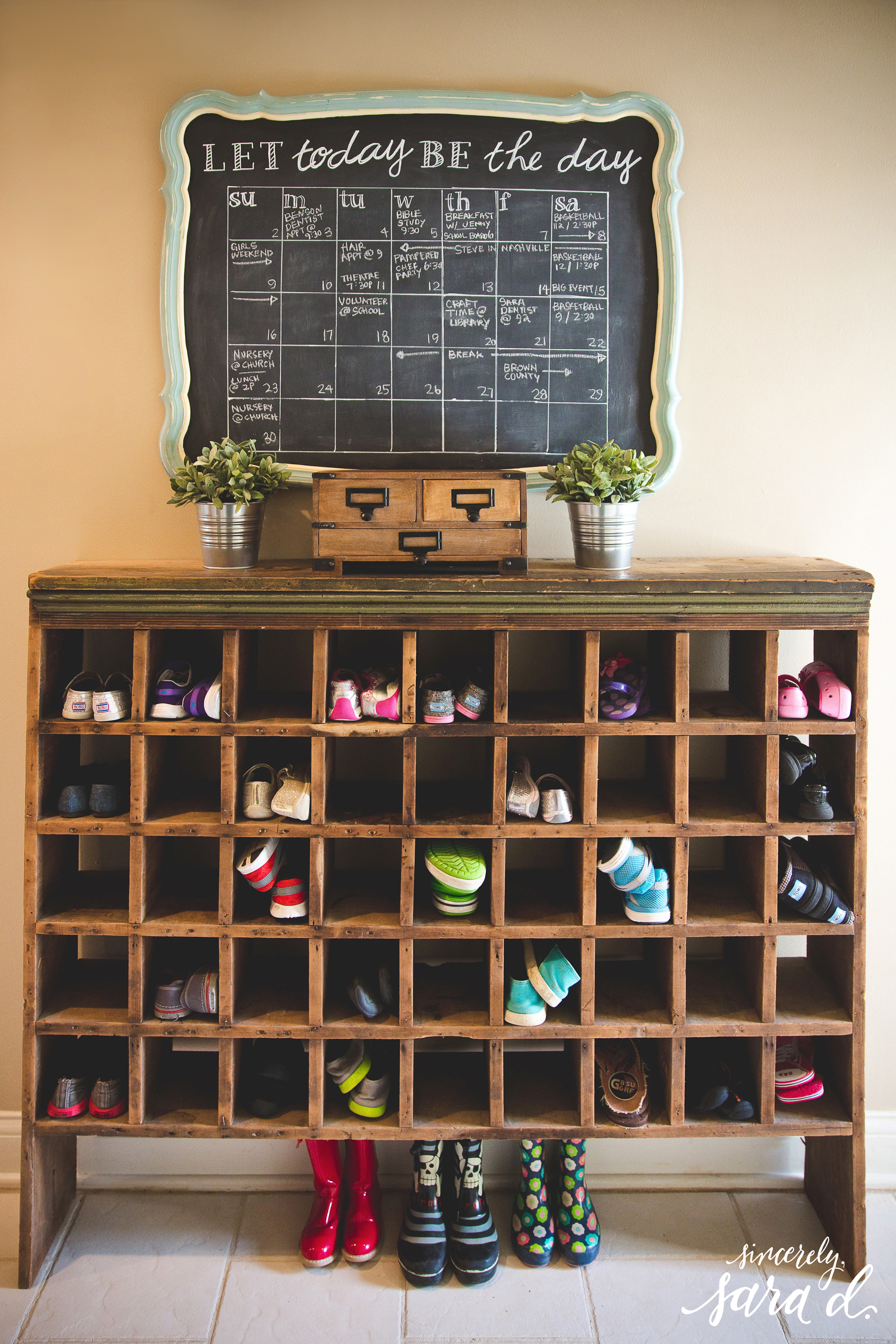 Shoe storage cubbies in a home's entry