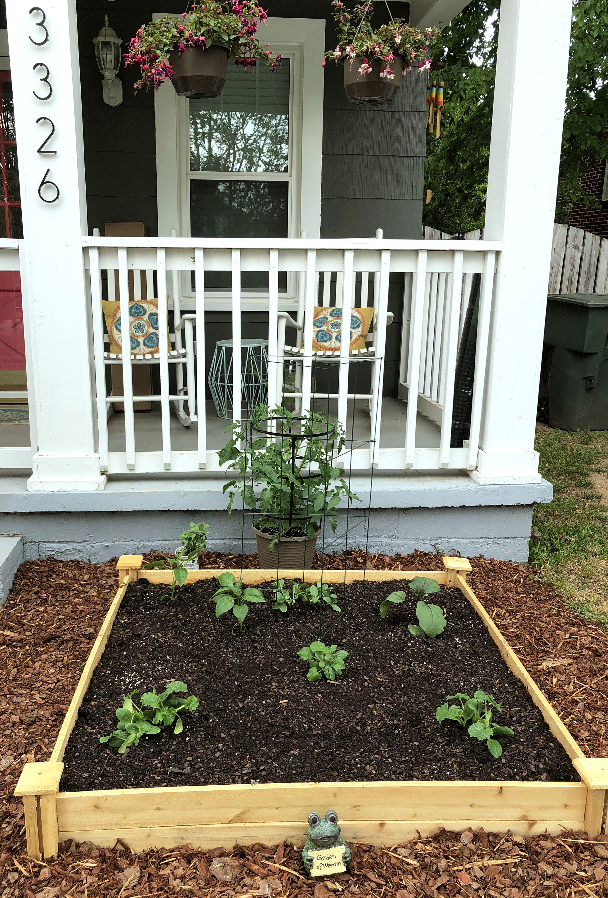 Edible garden bed in front of porch | Fall Landscaping Tips