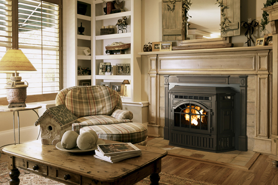 A pellet-burning fireplace insert makes an open fireplace more efficient and convenient