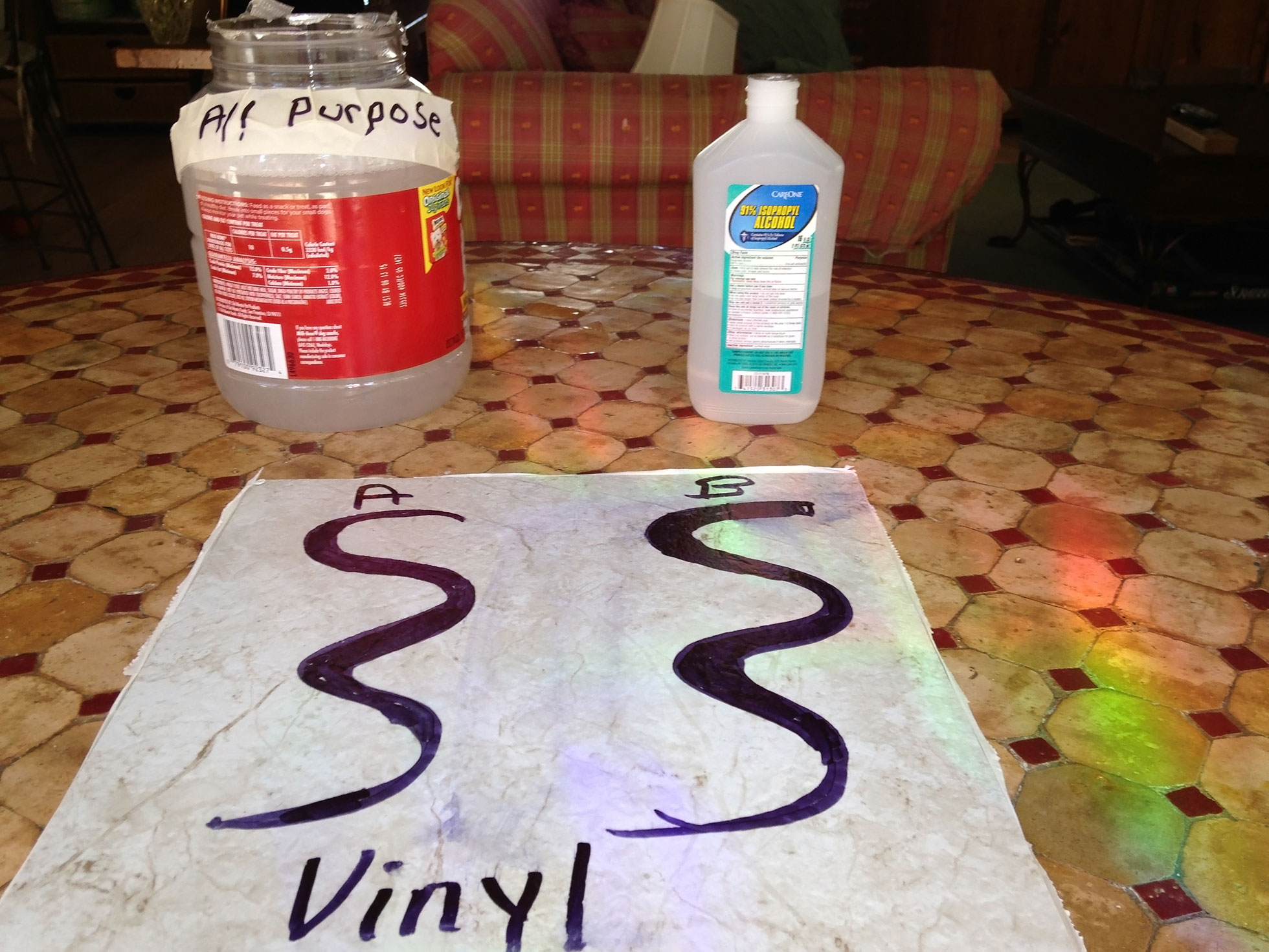 DIY vinyl floor cleaner before test