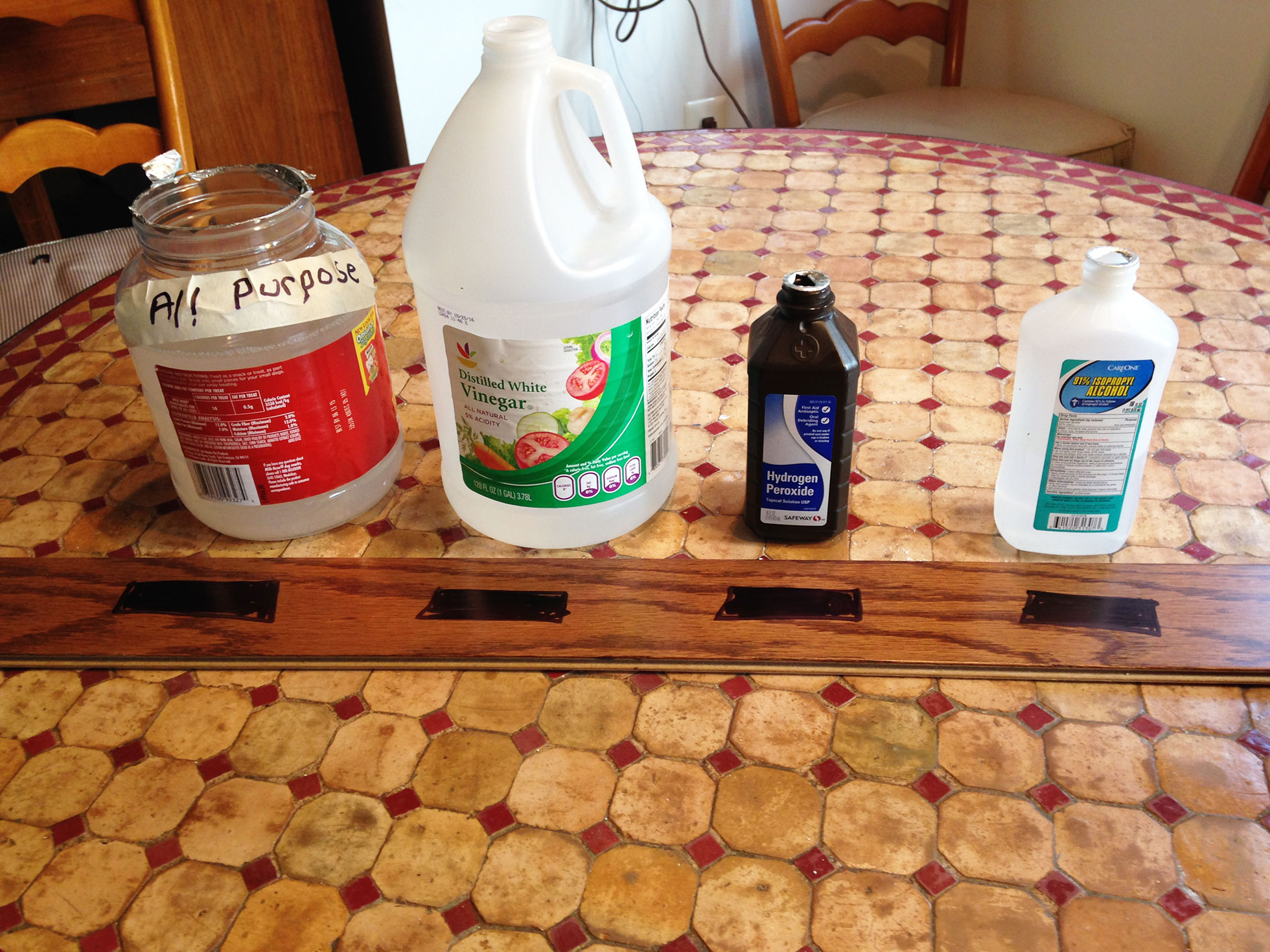 Before wood DIY floor cleaner test