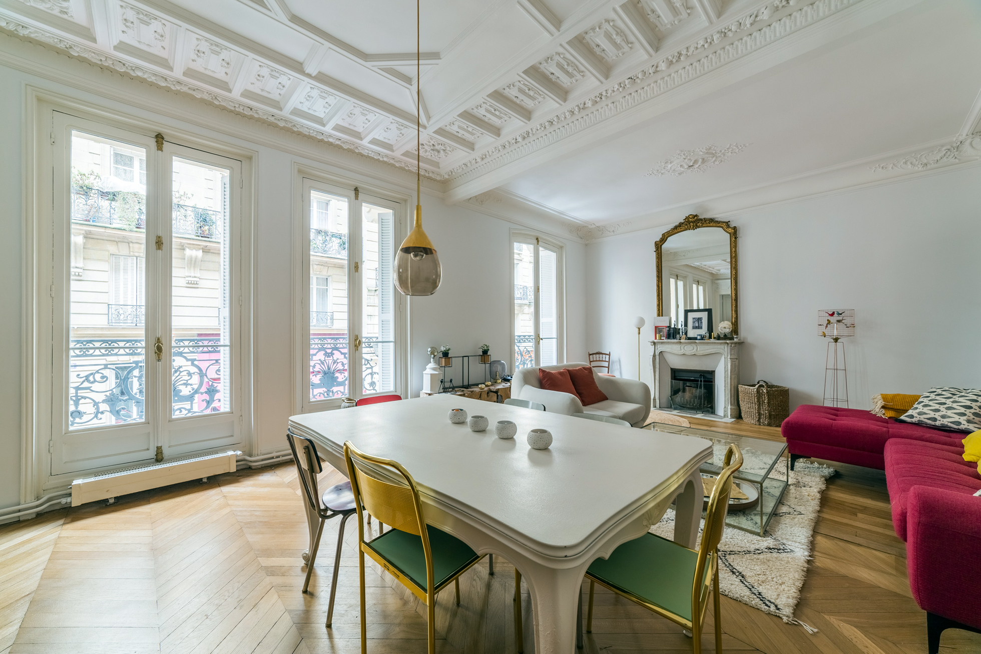 French style apartment with dining table and couch