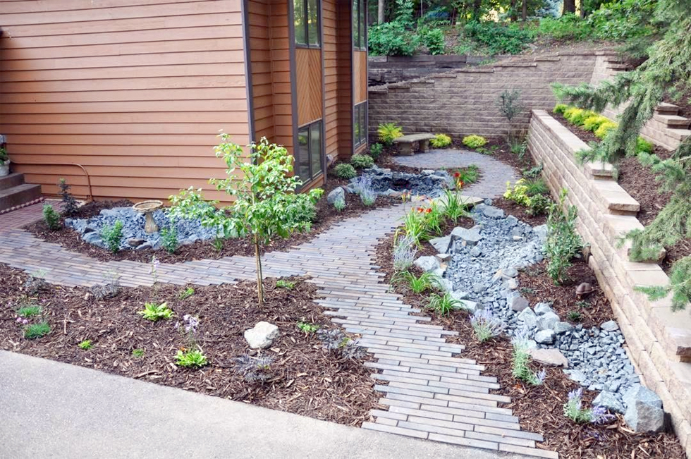 Front yard paver pathway