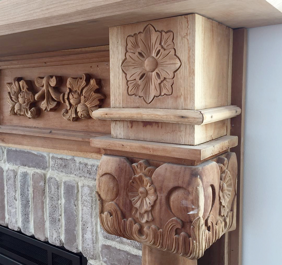 Upcycled carved wooden mantel to get ready for fall