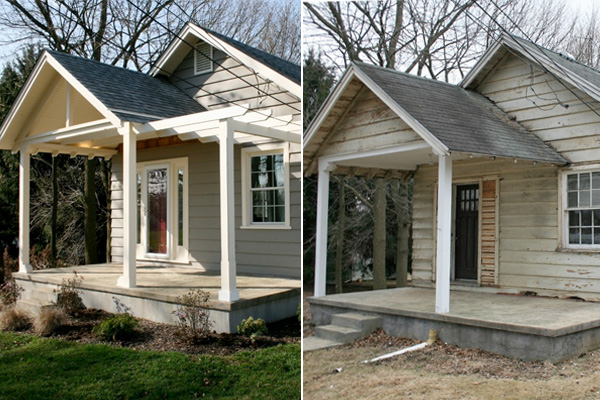 Home exterior renovation from tired to stylish siding for Before and after home exteriors remodels