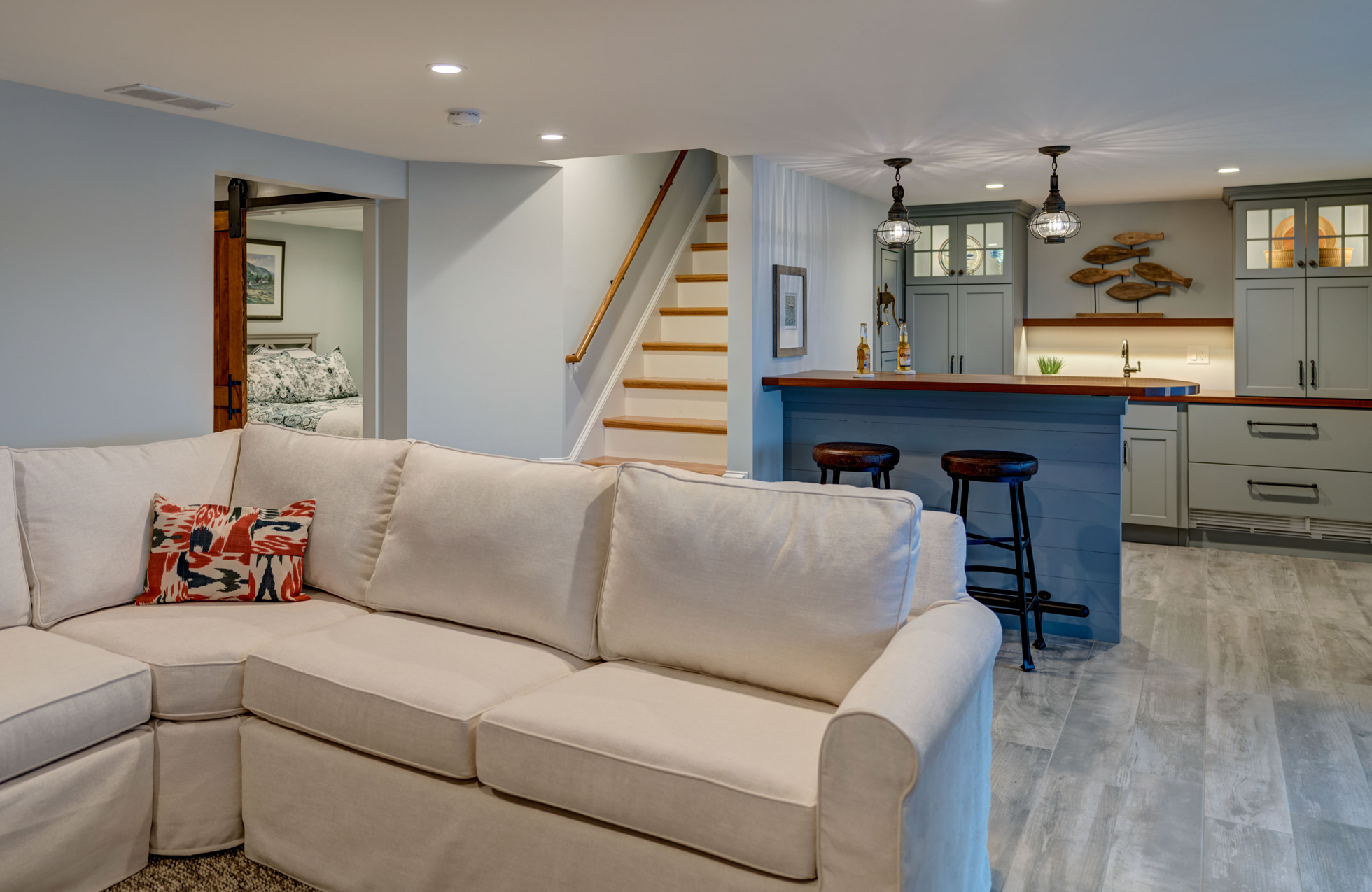 Renovated home basement