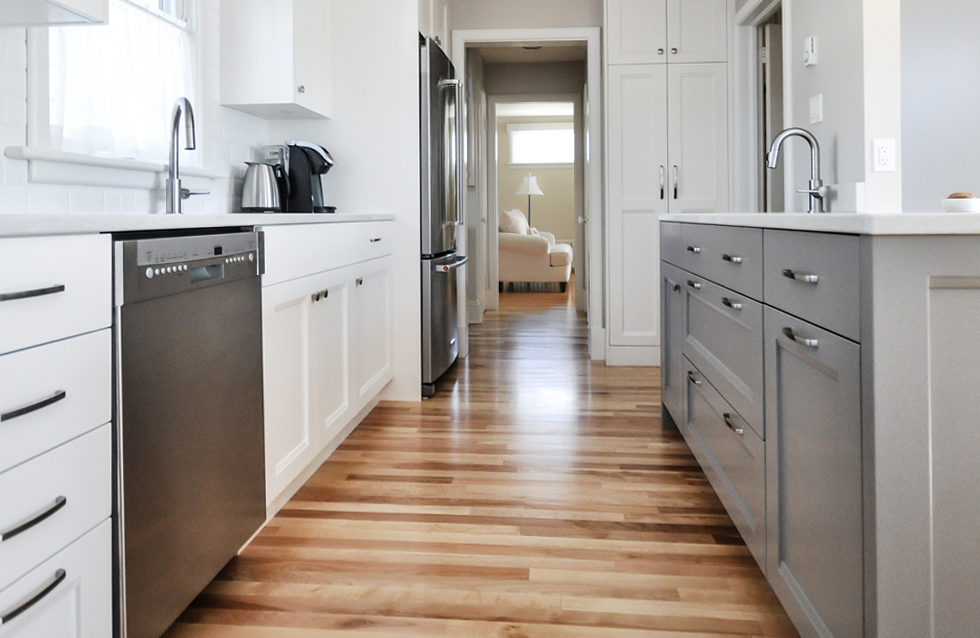 Hardwood flooring in a home kitchen