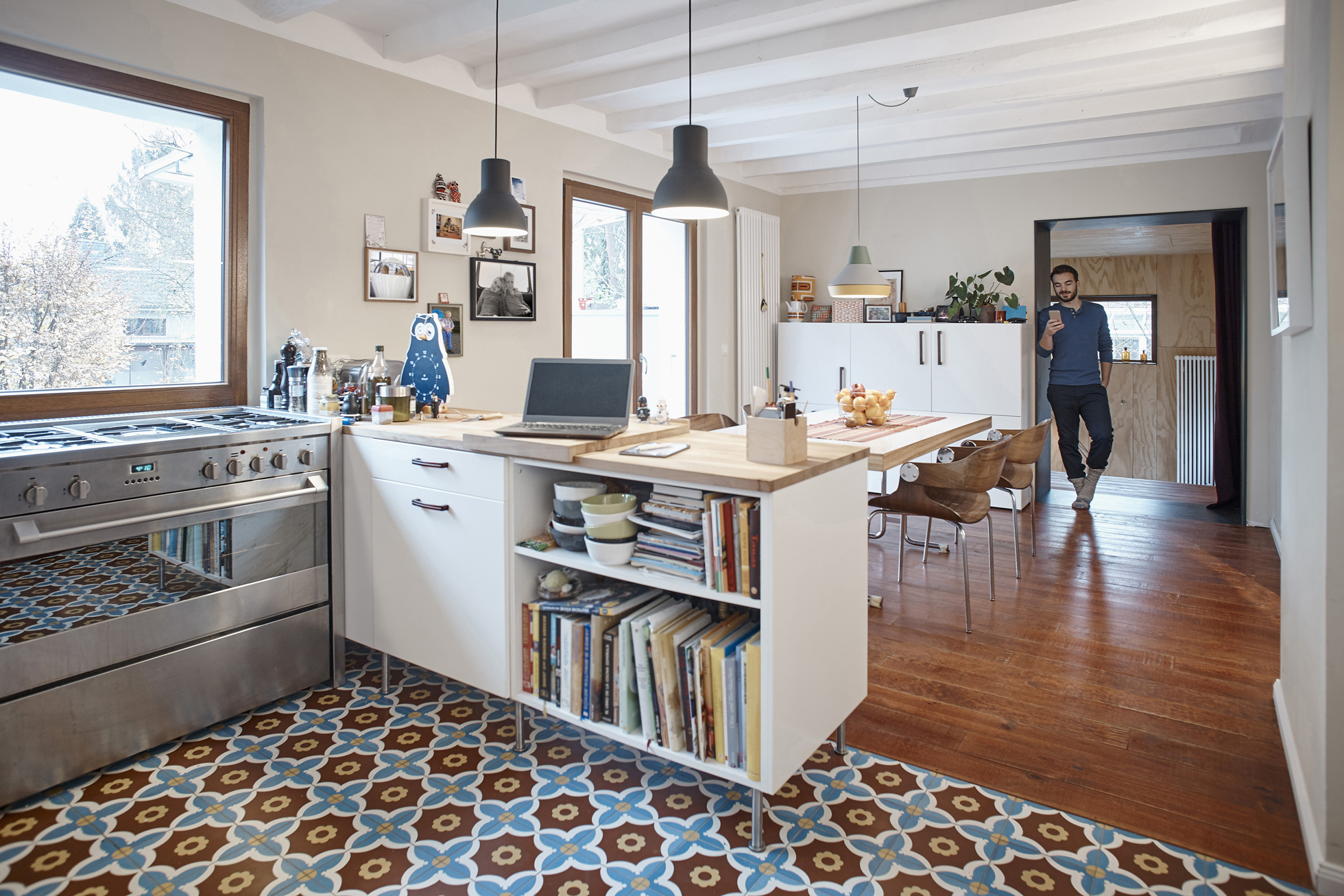 Renovated kitchen with colorful tile floor