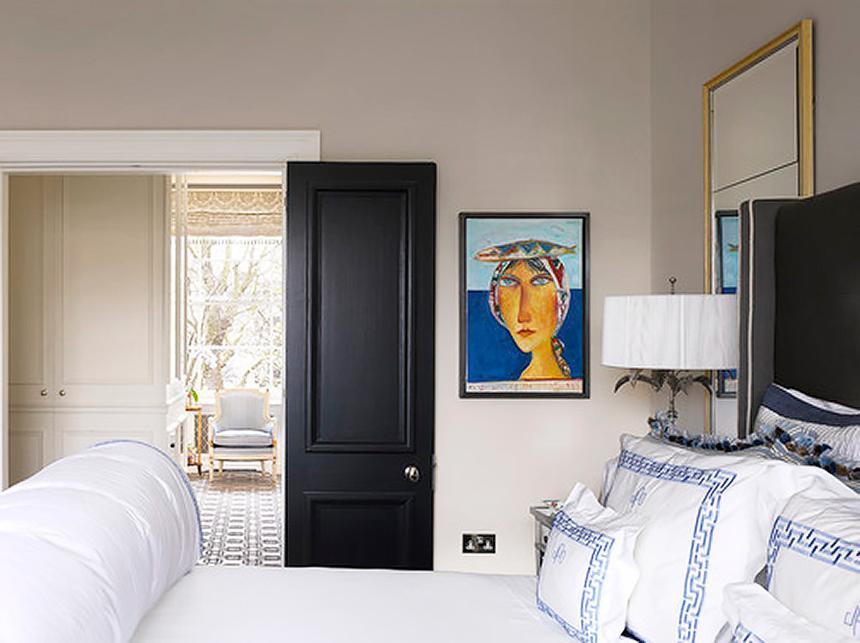 Bedroom door painted black