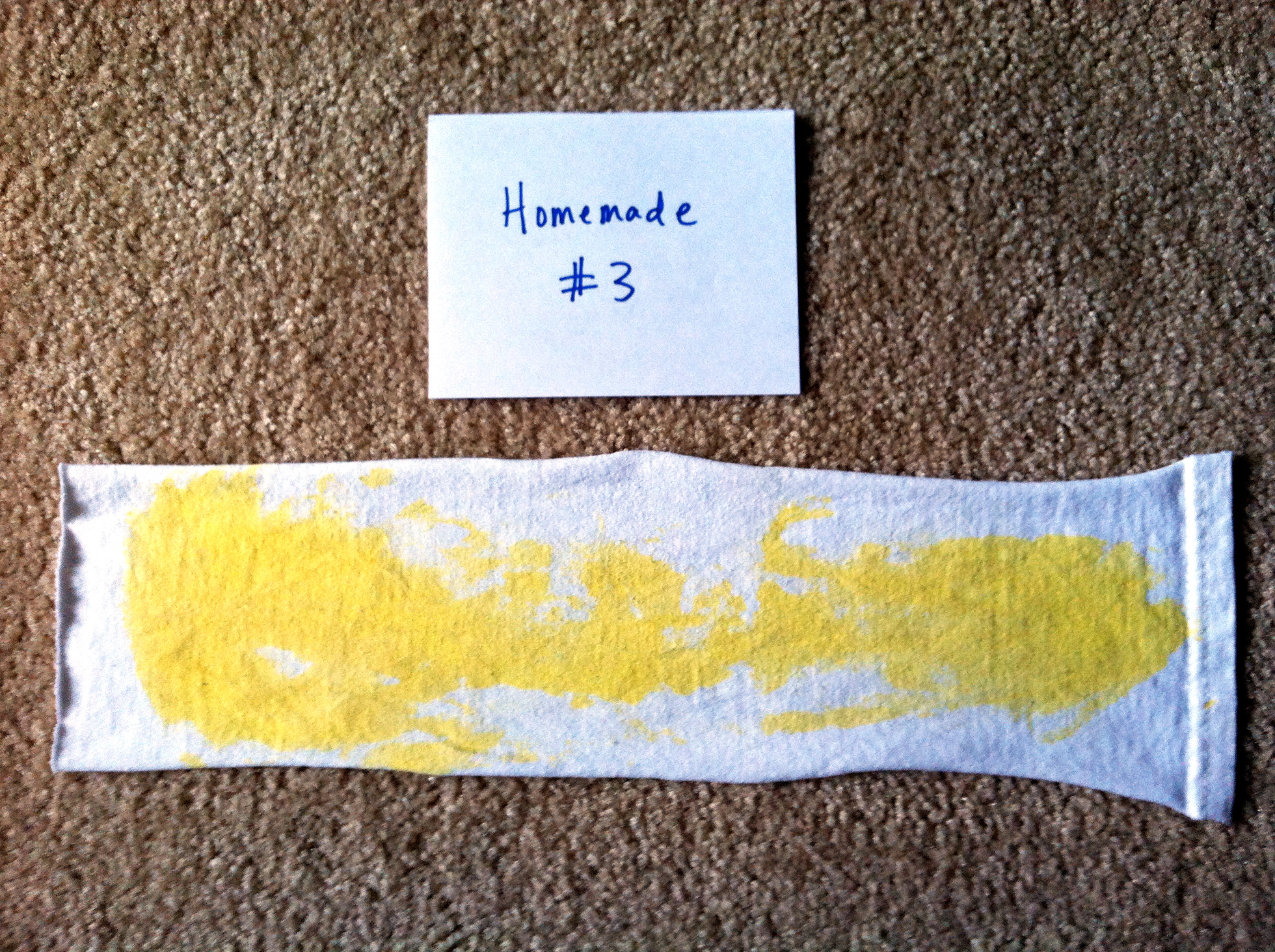 Test strip after washing with homemade detergent #3