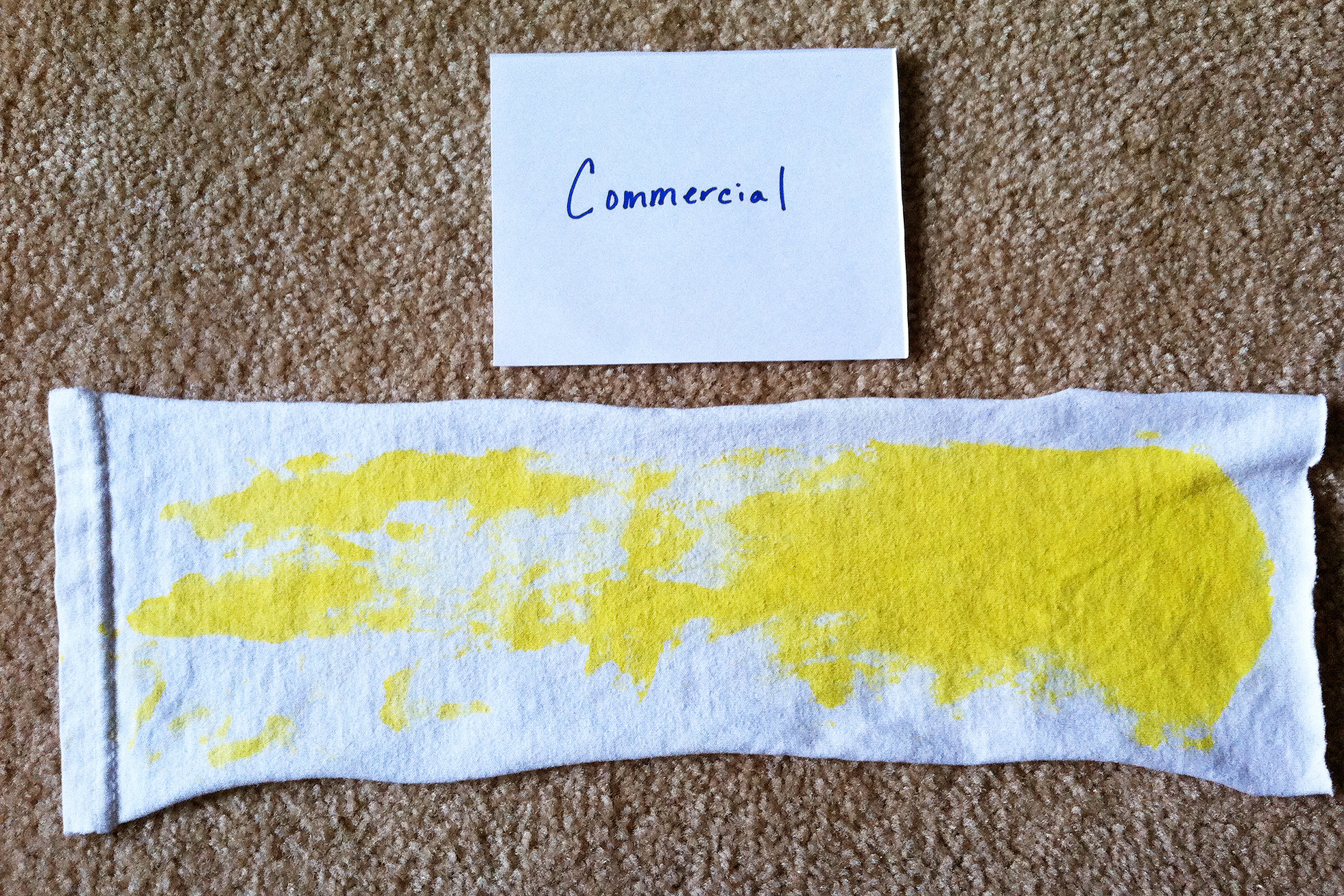 Test strip after washing with commercial laundry detergent