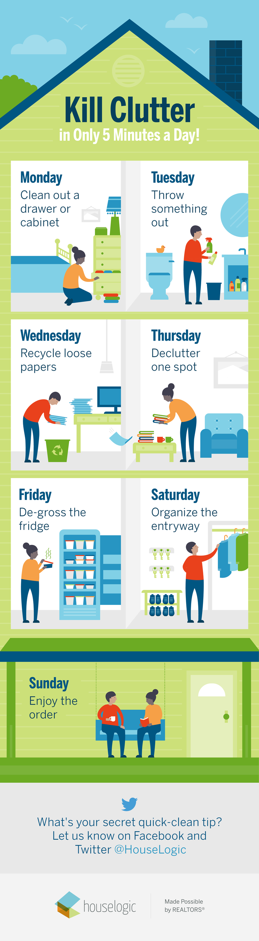 """Kill Clutter in 5 Minutes a Day!"" infographic"