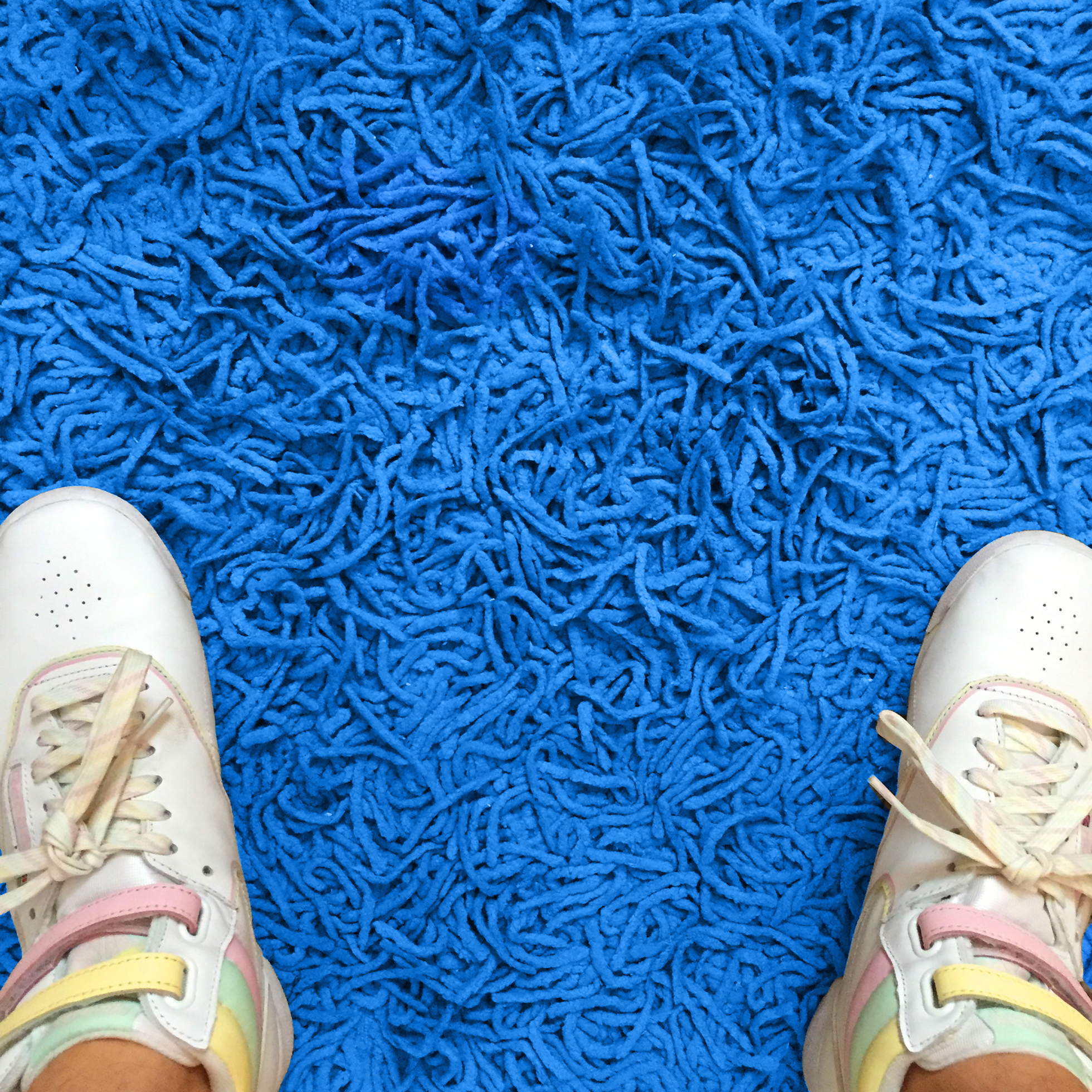 Overhead view of white sneakers planted on blue shag carpet