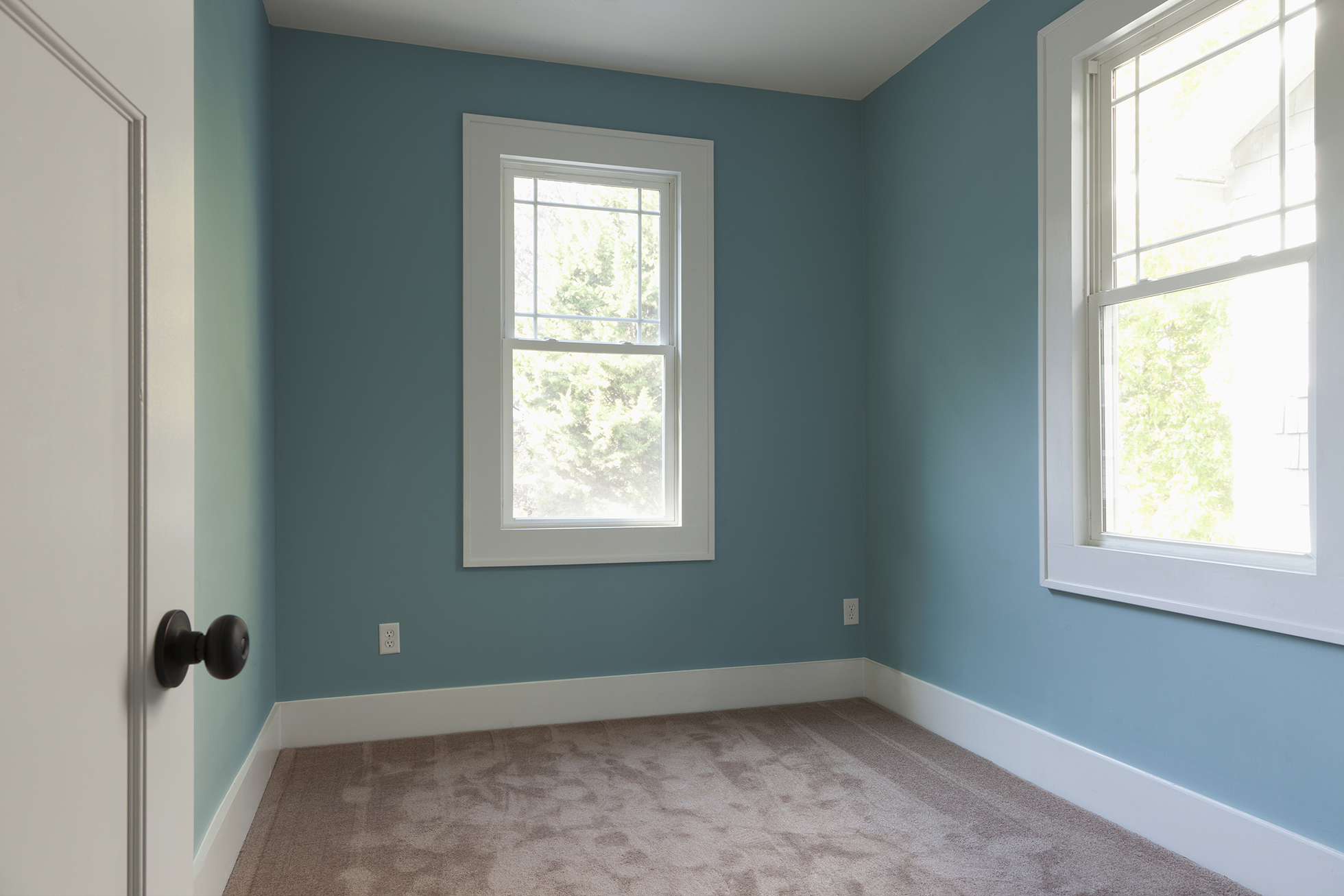 White door opening to empty blue room with beige carpet